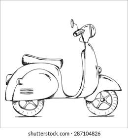 Vector hand drawn retro scooter black & white