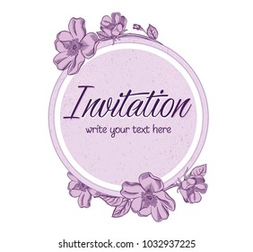 Vector hand drawn romantic floral invitation.Textured cycle with apple blossom flowers in line art style.Invite isolated on white background.sketchy hand drawn apple blossom decoration greeting card.