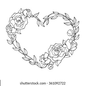 Vector hand drawn rose wreath in heart shape illustration. Great for logo, company branding, greeting, wedding and valentine cards