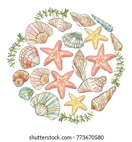 Vector hand drawn round composition with shells and starfish. Vector illustration