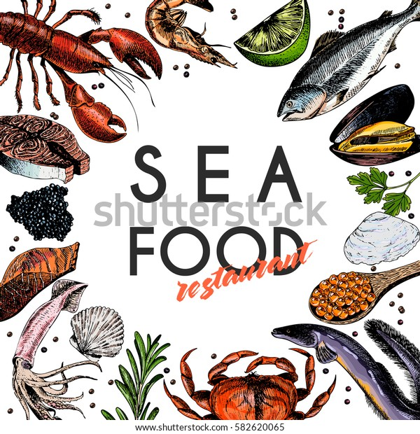 Vector hand drawn seafood banner.colored Lobster, salmon, crab, shrimp, octopus, squid, clams.Engraved art in round border composition.Delicious menu objects. restaurant, promotion market store flyer
