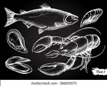 Vector hand drawn seafood chalkboard set. Vintage illustration