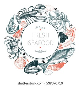 Vector hand drawn seafood logo. Lobster, salmon, crab, shrimp, octopus, squid, clams.Engraved art in round border composition. Delicious menu objects. Use for restaurant, promotion market store banner