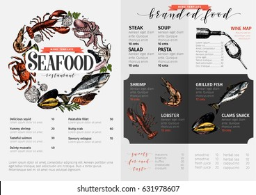 Vector hand drawn seafood menu template. colored Lobster, salmon, crab, shrimp, octopus, squid, clams.Engraved art. Delicious menu objects restaurant promotion market store flyer