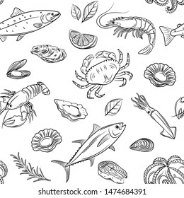 Vector hand drawn seafood seamless pattern with mussel, fish salmon and shrimp. Lobster, squid, octopus, scallop, lobster or crabs, mollusk, oyster and tuna for product market, restaurant, cafe.