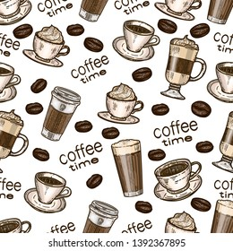 Vector hand drawn seamless colorful pattern of coffee.Latte, cappuccino, frappe, espresso americano, coffee beans and americano in cup for take away in the engraving vintage style on white background.