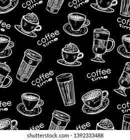 Vector hand drawn seamless pattern of coffee.Latte, cappuccino, frappe, espresso americano and americano in cup for take away in the engraving vintage style on black background.