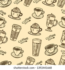 Vector hand drawn seamless pattern of coffee.Latte, cappuccino, frappe, espresso americano and americano in cup for take away in the engraving vintage style.