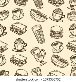Vector hand drawn seamless pattern of latte, cappuccino, burger, hamburger, hotdog, frappe, espresso americano and americano in cup for take away in the engraving vintage style.