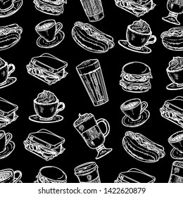 Vector hand drawn seamless pattern of latte, cappuccino, burger, hamburger, hotdog, frappe, espresso americano and americano in cup for take away in the engraving vintage style on black background.