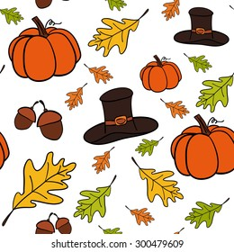A vector hand drawn seamless pattern of Thanksgiving icons with orange pumpkin, hat,  acorn and leaves