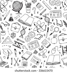 vector hand drawn seamless pattern with education items
