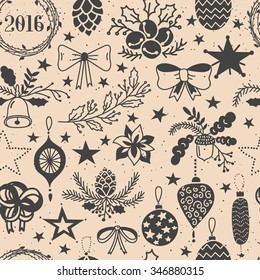 Vector hand drawn seamless pattern with Christmas Decorations. Stars, balls, bowls, bells, brunches, wreath, oak, cone, 2016 title.