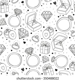 vector hand drawn seamless pattern with engagement items