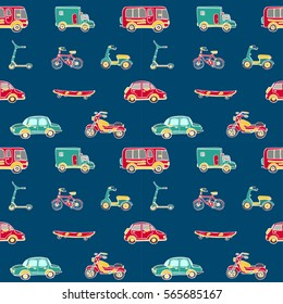Vector hand drawn vector seamless pattern with transport. Bike, bicycle, car, truck, bus, scooter, long board. Could be used as background, wrapping paper and textile ornament.
