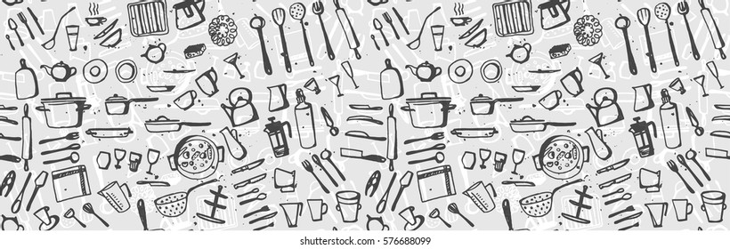 Vector hand drawn seamless pattern background kitchen utensils in grey color