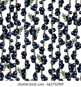 Vector hand drawn seamless pattern of isolated acai branches. Engraved colored art. Delicious tropical vegetarian fruits. for restaurant, meal, market, store, menu, party decoration, smoothie bowls