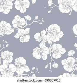 Vector hand drawn seamless pattern with stylized orchid branch for your design on the light gray background, pattern can be used for wallpaper.