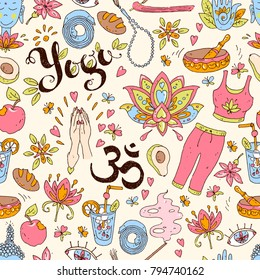 Vector hand drawn seamless pattern. Yoga equipment and accessories, positive atmosphere. Cute cartoon style. Color illustration. Ohm.