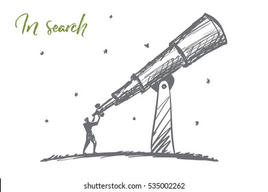 Vector hand drawn searching concept sketch with man standing and looking through giant telescope at the sky