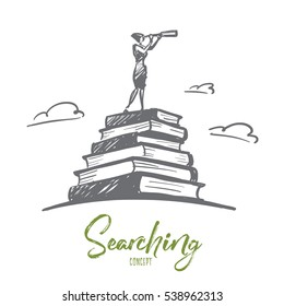 Vector hand drawn searching concept sketch with woman standing at top of stack of books and looking through spyglass with lettering
