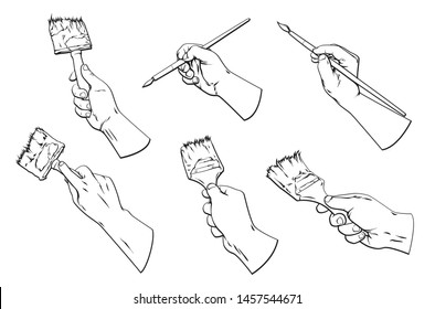 Vector hand drawn set cartoon illustration of many human hands with different paint brushes, vector illustration isolated on white background