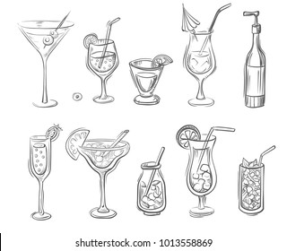 Vector hand drawn set of cocktails and alcoholic drinks in bottles and glasses. Doodle style.