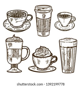 Vector hand drawn set of coffee.Latte, cappuccino, frappe, espresso americano and americano in cup for take away in the engraving vintage style isolated on white background.