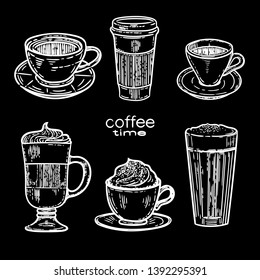 Vector hand drawn set of coffee.Latte, cappuccino, frappe, espresso americano and americano in cup for take away in the engraving vintage style isolated on black background.