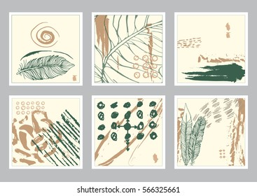 Vector hand drawn set of creative card. Ink grunge design for cover. Isolated brush stroke abstract print. Vintage painted background.