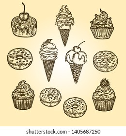 Vector hand drawn set of cupcakes ice creams and donuts in the engraving vintage style.