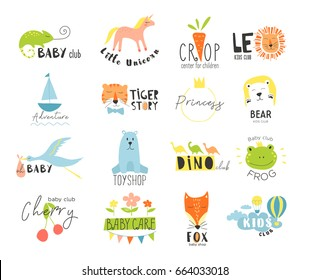Vector hand drawn set elements for labels, logos and badges for  kids club, baby shop, toys shop and any other children's projects.