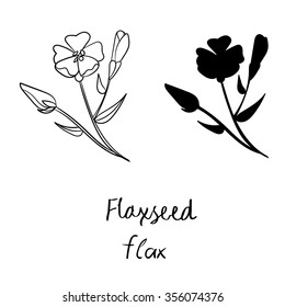 Vector hand drawn set with flax. Vector illustration