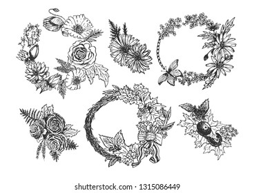 Vector hand drawn set of floral decorations. Buttonholes, flower crowns and wreaths. Isolated on white background