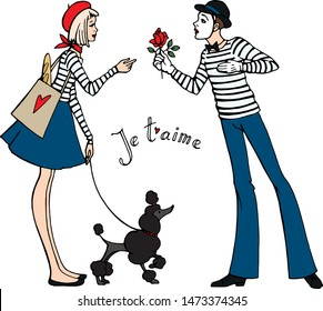 Vector hand drawn set in french style. Girl , young men , dog , love in Paris.