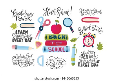 Vector hand drawn set of icons with school stationery and lettering quotes. Back to school message and flat illustrations. Cute cartoon art. Study collection.