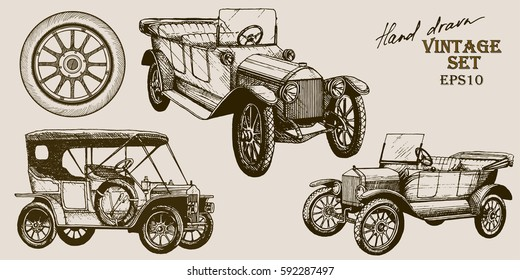 Vector hand drawn set with isolated elements: vintage cars and wheel.