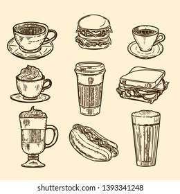 Vector hand drawn set of latte, cappuccino, burger, hamburger, hotdog, frappe, espresso americano and americano in cup for take away in the engraving vintage style.
