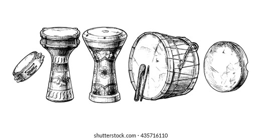Vector hand drawn set of Middle Eastern Percussion Instruments. Riq,