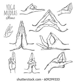 Vector hand drawn set of mudras. Isolated on white. Yoga. Spirituality. Colorful