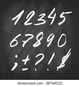 Vector  hand drawn set of Number and Punctuation mark on Chalkboard. Sketch for School illustration, flyers, posters and banner  design, restaurant and coffee menu. EPS 10