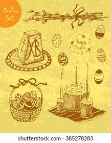Vector Hand Drawn Set for Orthodox Easter. Decorated Eggs, Basket, Easter Willow, Easter Cake and Calligraphic Text. Design Elements for Easter Holiday. Kulich, Verba.