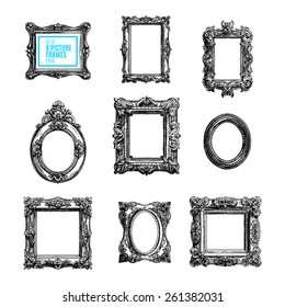 Vector hand drawn set with picture frames. Sketched illustration collection.