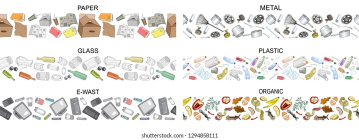 Vector hand drawn set of seamless borders with sorted garbage isolated on white. Collection of trash patterns with separate debris.Concept of Recycles Day, World Cleanup day and ecology