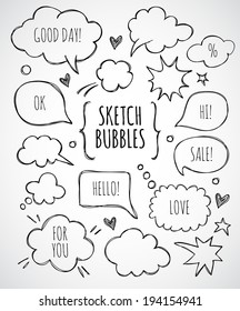 Vector hand drawn set of sketch speech bubbles clouds rounds hearts stars thought bubbles design elements