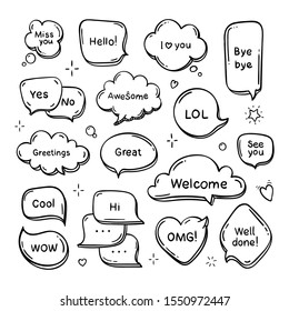 Vector hand drawn set of speech bubbles with words. Doodle dream cloud. Line illustration.