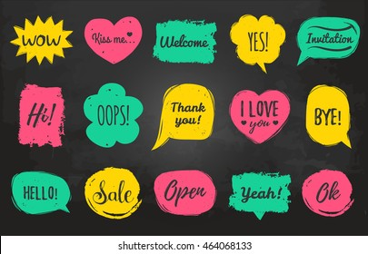 Vector hand drawn set of speech bubbles with phrases Hi, Hello, I love you, Yes, Wow, Welcome, Open, Kiss Me, Sale, Oops etc. Comic balloons collection.