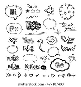 vector Hand drawn set of speech bubbles with dialog words Hello, Follow, like, Yes, Me, No, Rate, Go, Bye Hi, arrows and hearts illustrations isolate on white background
