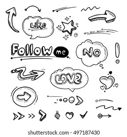 vector Hand drawn set of speech bubbles with dialog words Follow, like, Love, No, rate. Stars, arrows and hearts illustrations isolate on white background