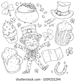 Vector hand drawn set of St. Patrick's Day theme objects and leprechaun. Irish beer, shamrock, gold pot, leprechauns hat, Irish glad and lucky horseshoe. uncolored line art